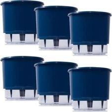 kit 6 vasos raiz autoirrigavel medio azul escuro
