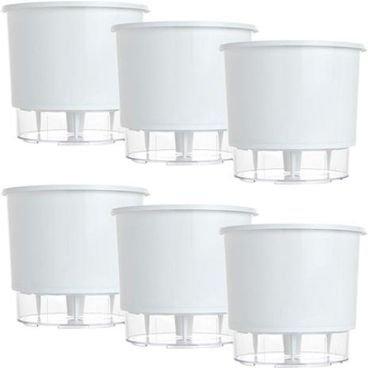 kit 6 vasos raiz autoirrigavel medio branco