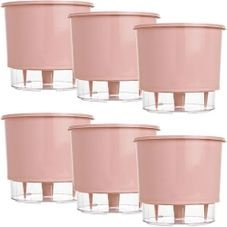 kit 6 vasos raiz autoirrigavel medio rosa