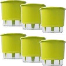 kit 6 vasos raiz autoirrigavel medio verde claro