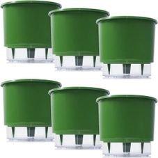 kit 6 vasos raiz autoirrigavel medio verde escuro