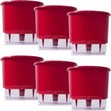 kit 6 vasos raiz autoirrigavel medio vermelho