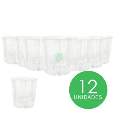 kit pote transparente orquidea 12 unidades