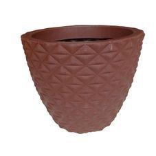 vaso lapidado plastico bambu redondo marrom