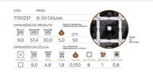 bandeja triangular 50 celulas flexivel nutriplan medidas